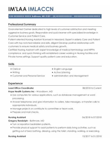 Nursing Assistant resume format Maryland