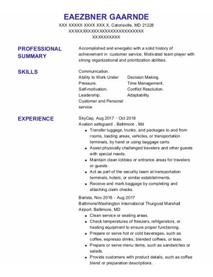 Skycap resume example Maryland