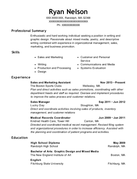 Sales and Marketing Assistant resume example Massachusetts