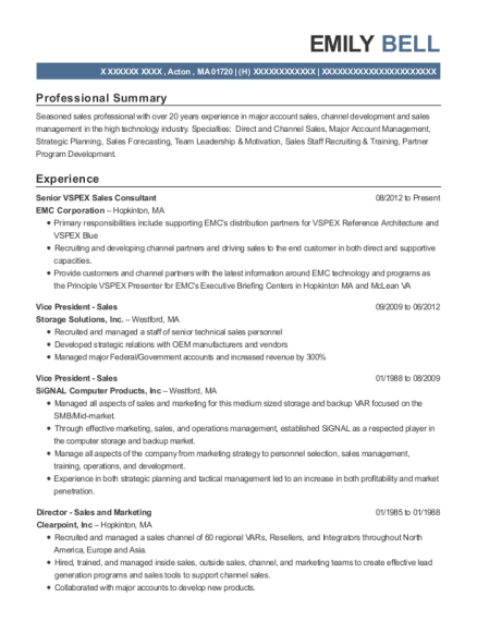 Senior VSPEX Sales Consultant resume sample Massachusetts