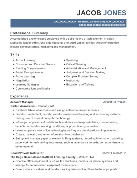 Account Manager resume template Massachusetts