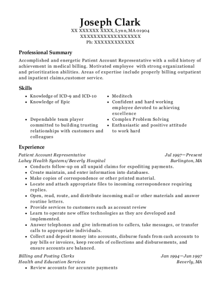Patient Account Representative resume sample Massachusetts