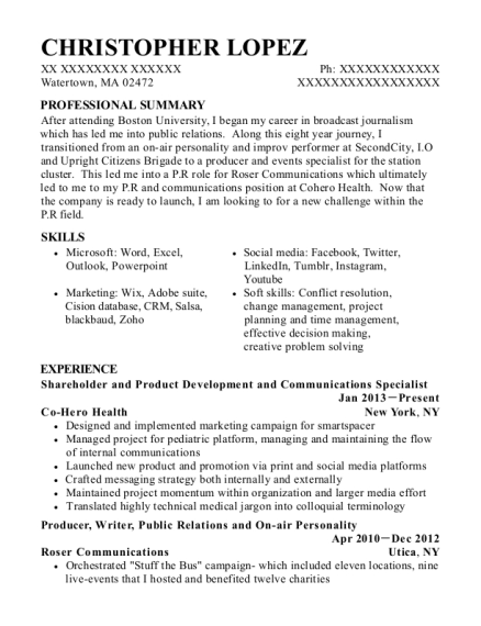 Shareholder and Product Development and Communications Specialist resume example Massachusetts