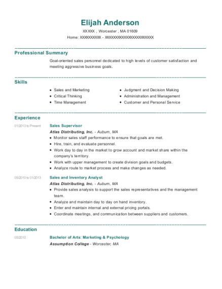 Sales Supervisor resume example Massachusetts