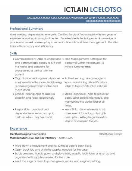 Certified Surgical Technician resume template Massachusetts
