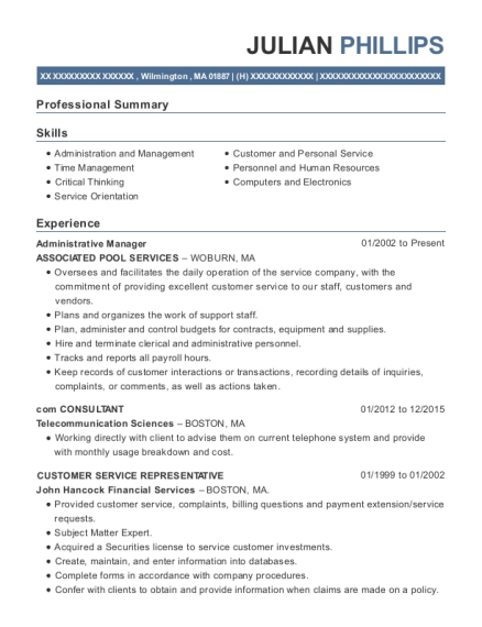 Administrative Manager resume example Massachusetts