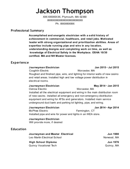 Journeyman Electrician resume template Massachusetts