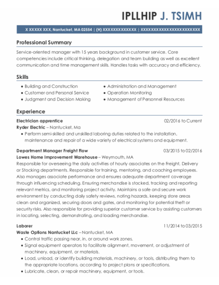 Department Manager Freight Flow resume example Massachusetts