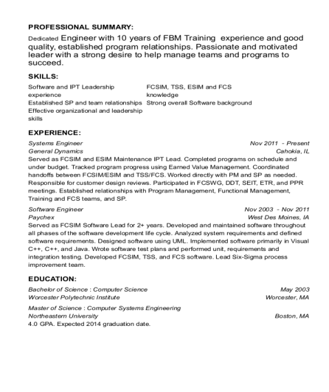 Systems Engineer resume format Massachusetts