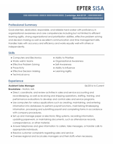 Assistant Sales Manager resume format Massachusetts
