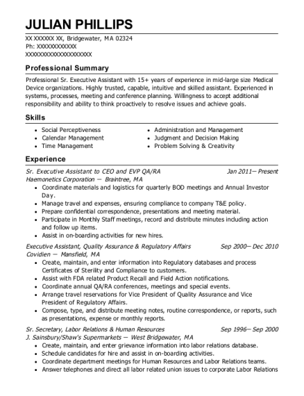 Sr Executive Assistant to CEO and EVP QA resume template Massachusetts