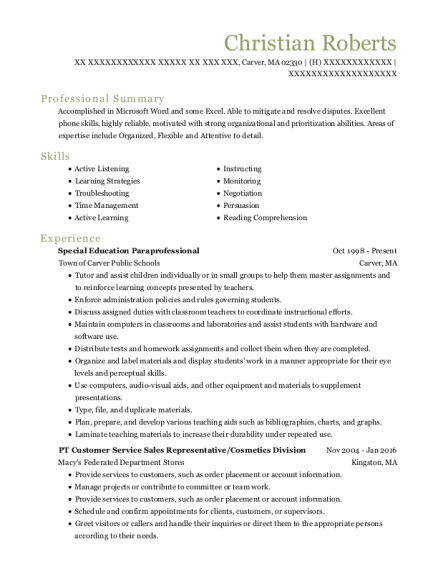 Special Education Paraprofessional resume template Massachusetts