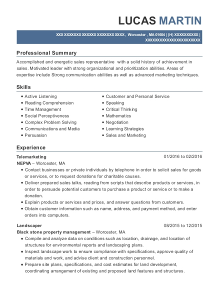 Telemarketing resume example Massachusetts