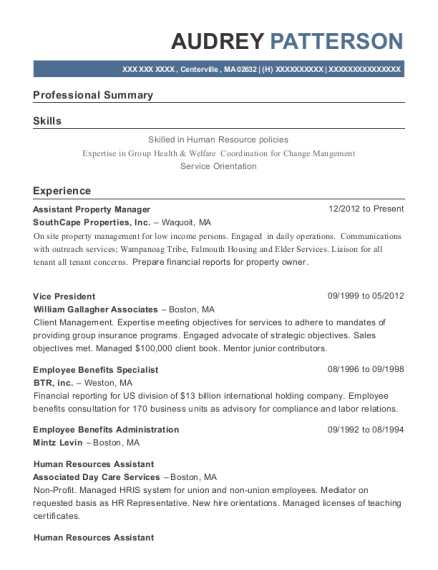 Assistant Property Manager resume template Massachusetts