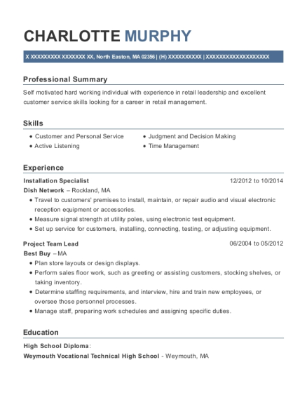 Installation Specialist resume example Massachusetts