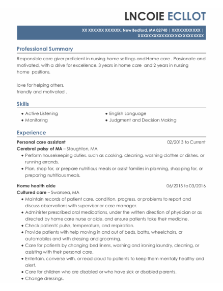 Personal care assistant resume format Massachusetts