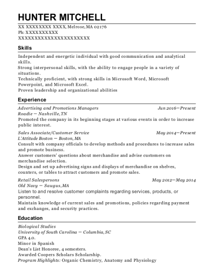 Roadie Advertising And Promotions Managers Resume Sample
