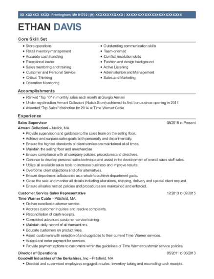 Sales Supervisor resume sample Massachusetts