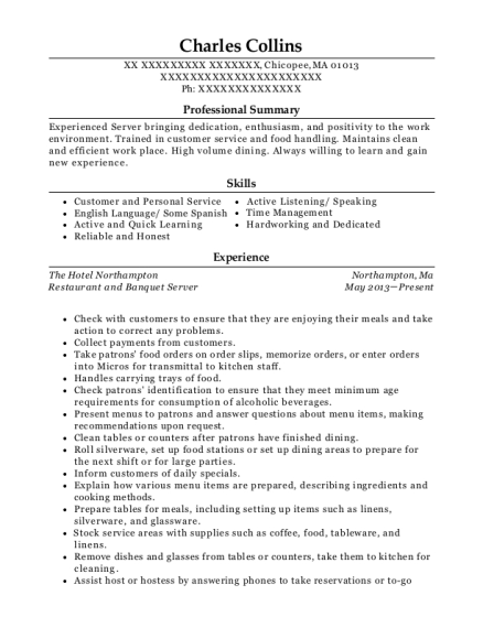 Restaurant and Banquet Server resume example Massachusetts