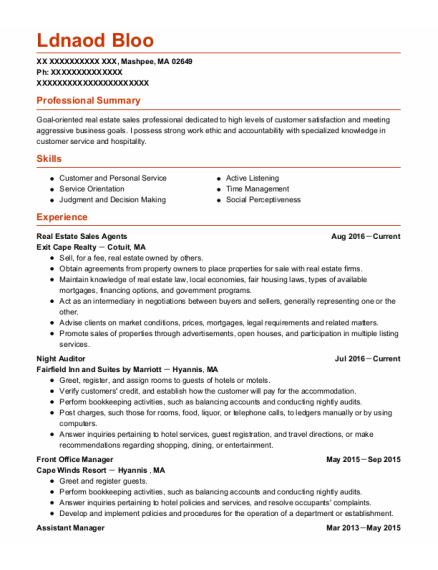 Front Office Manager resume example Massachusetts