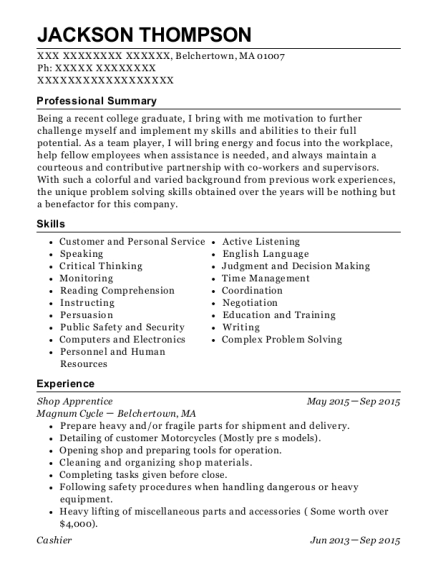Shop Apprentice resume template Massachusetts