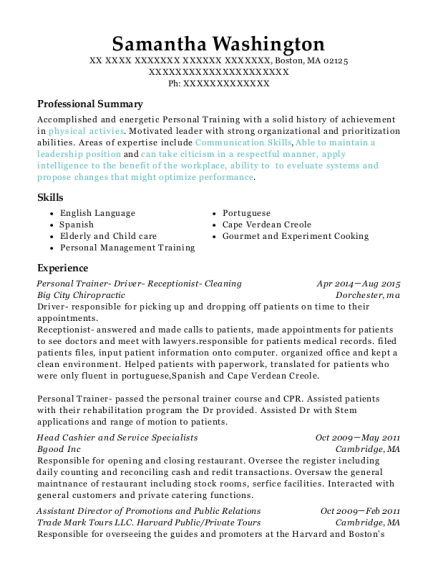 Personal Trainer Driver Receptionist Cleaning resume example Massachusetts