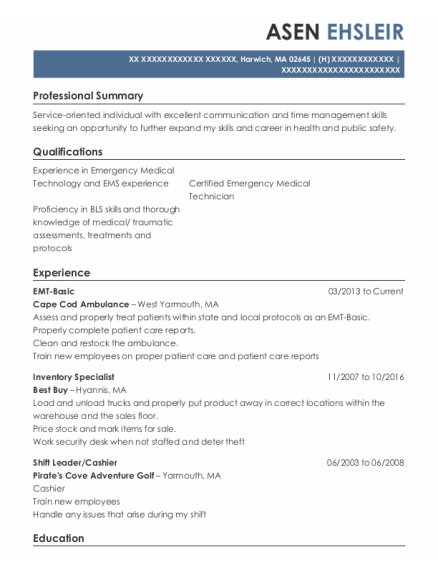 EMT Basic resume template Massachusetts
