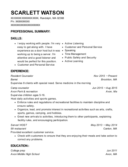 Resident Counselor resume format Massachusetts