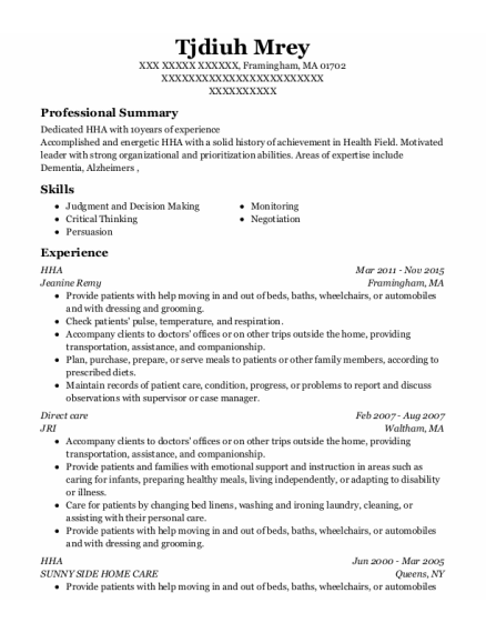 HHA resume format Massachusetts