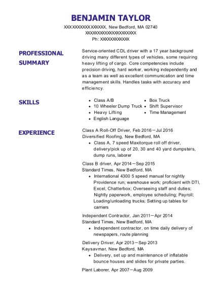 Class A Roll Off Driver resume example Massachusetts