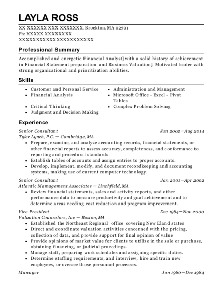 Senior Consultant resume example Massachusetts