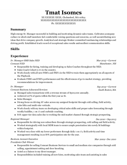 Sr Manager New Partner Development resume template Massachusetts
