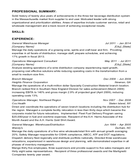 General Warehouse Manager resume sample Massachusetts