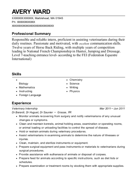 Veterinary Internship resume example Massachusetts