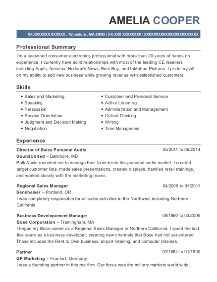 Director of Sales Personal Audio resume format Massachusetts