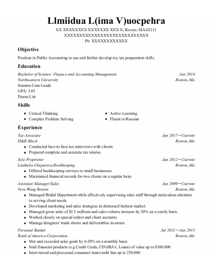 Tax Associate resume example Massachusetts