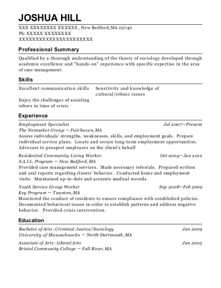Employment Specialist resume template Massachusetts