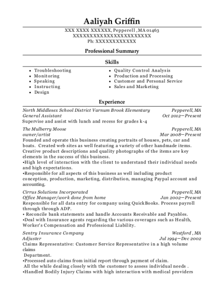 General Assistant resume sample Massachusetts