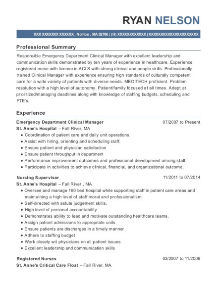 Emergency Department Clinical Manager resume example Massachusetts