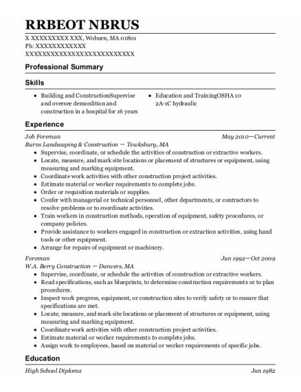Job Foreman resume example Massachusetts