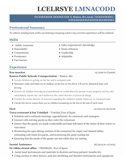 Bus Monitor resume sample Massachusetts