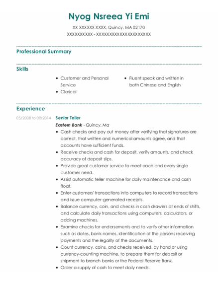 Senior Teller resume sample Massachusetts