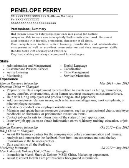 Human Resource Internship resume template Massachusetts