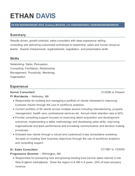 Senior Consultant resume template Massachusetts