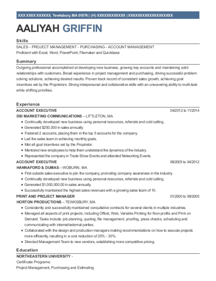 Account Executive resume format Massachusetts