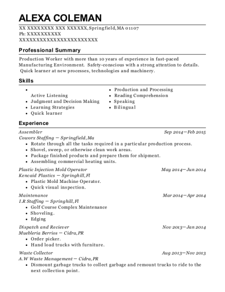 Assembler resume template Massachusetts