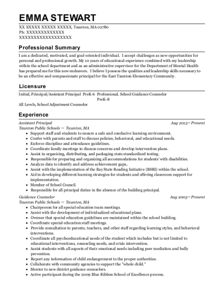 Assistant Principal resume template Massachusetts