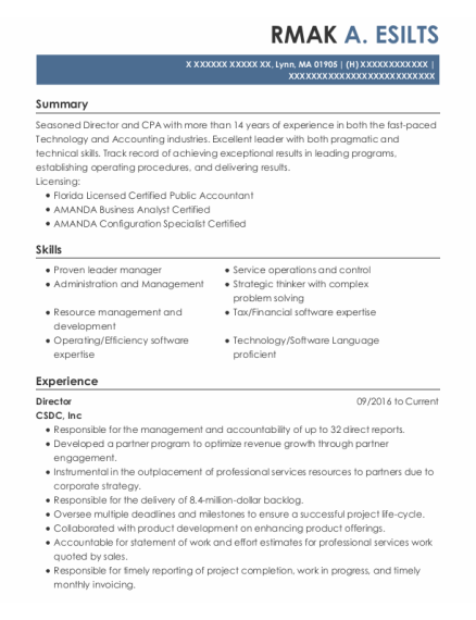 Director resume format Massachusetts
