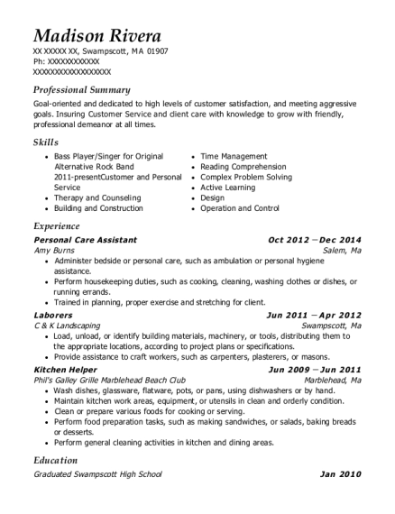 Personal Care Assistant resume template Massachusetts