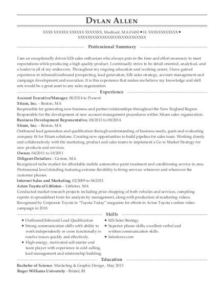 Account Executive resume template Massachusetts